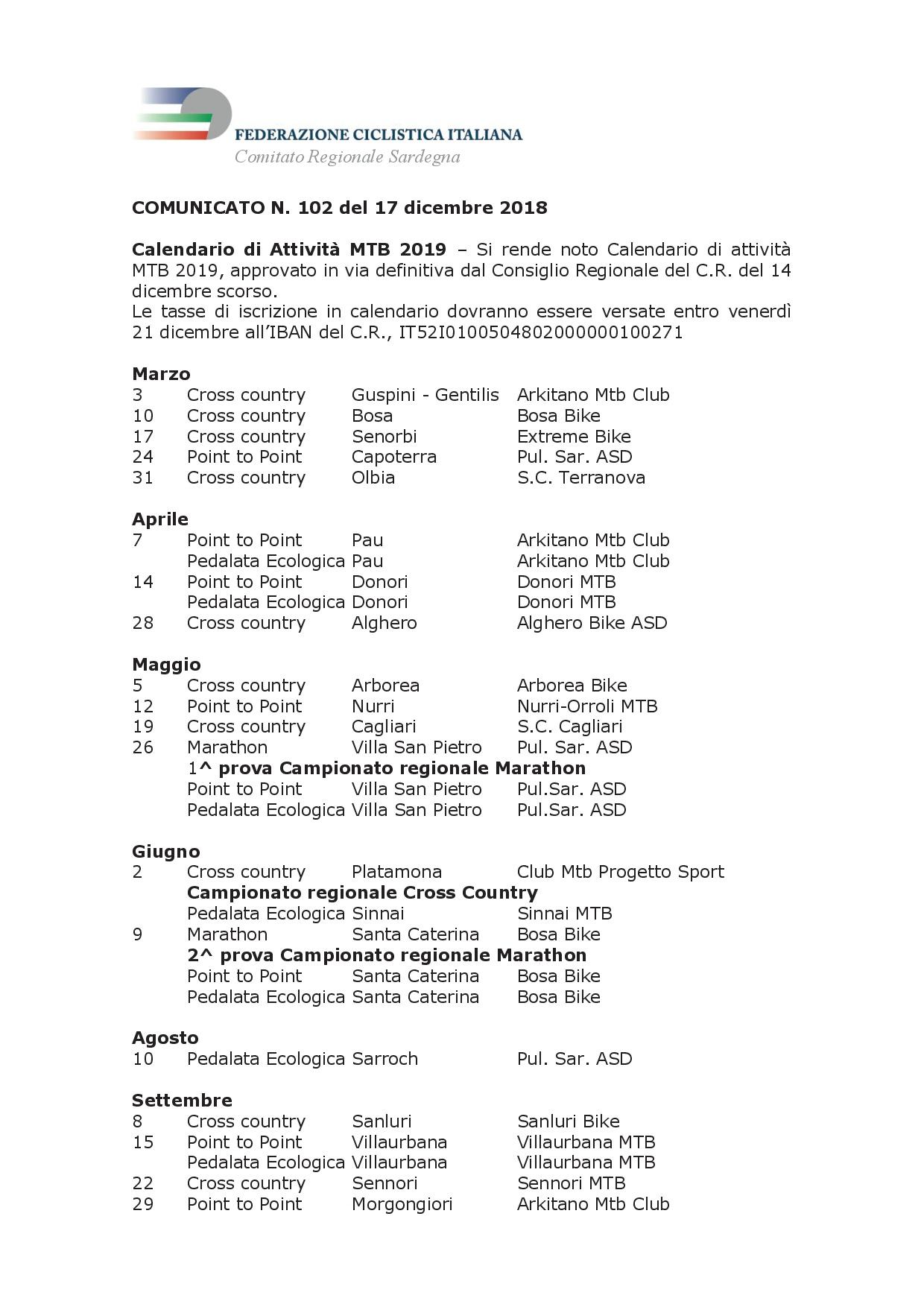 Calendario Mtb.Pul Sar Calendario Attivita Mtb 2019 Sito Ufficiale Della